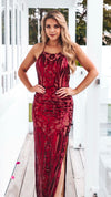 Red Sequin Formal Gown
