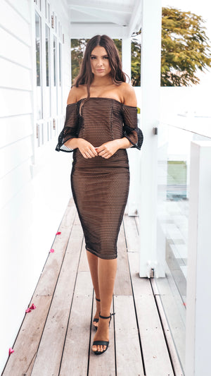 Womens Black Net Off The Shoulder Cocktail Dress