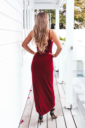 Maroon Womens Cocktail Stretch Dress