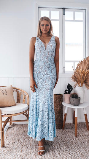 Blue Lace Couture Evening Gown