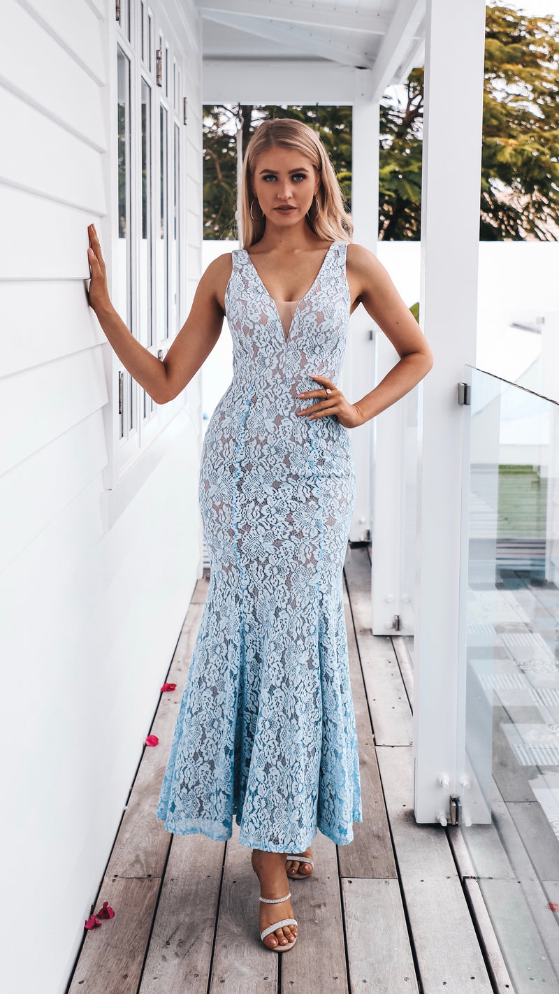 Blue Lace Couture Formal Dress Gown