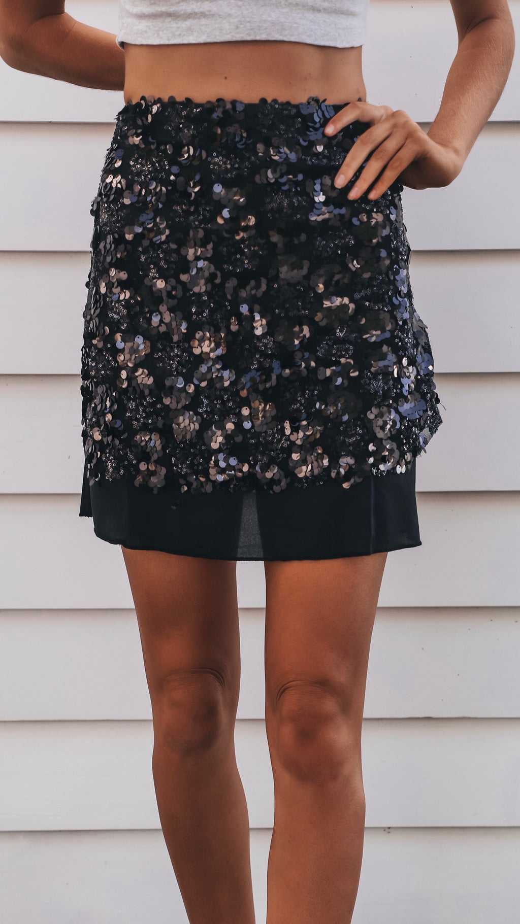 Sequin Black Mini Skirt
