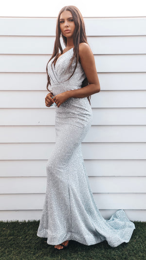 Floor Length Couture Silver Formal Gown - VA Luxe
