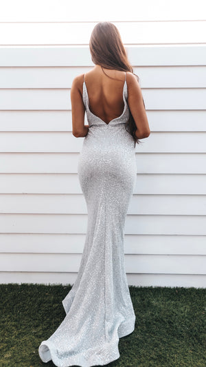 Floor Length Couture Silver Evening Gown - VA Luxe