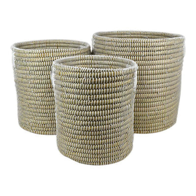 Tuma Sea Grass Basket Natural White - Eden Gardens