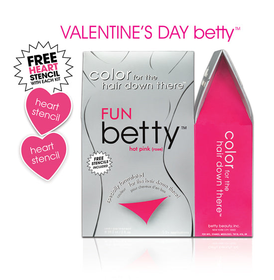 Fun Betty (Hot Pink) Intimate Hair Color Kit with Free Heart Stencils & Tattoo