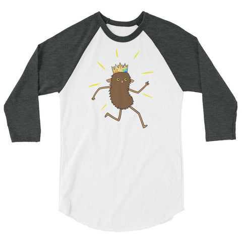 Brown Roger 3/4 sleeve raglan shirt White/Heather Charcoal | Twelve Forever