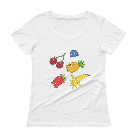 Fruit Puppies Ladies' Scoopneck T-Shirt White | Twelve Forever