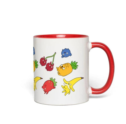 Fruit Puppy Accent Mug-White with Red Accents | Twelve Forever