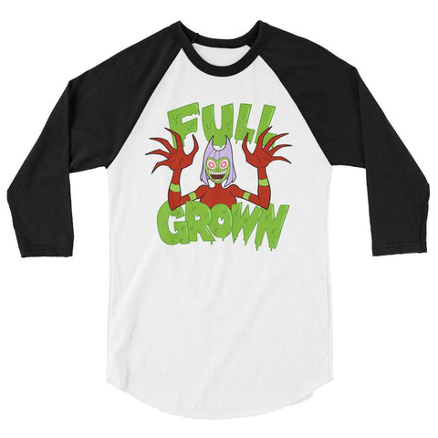 Full Grown 3/4 Sleeve Raglan Shirt White/Black | Twelve Forever