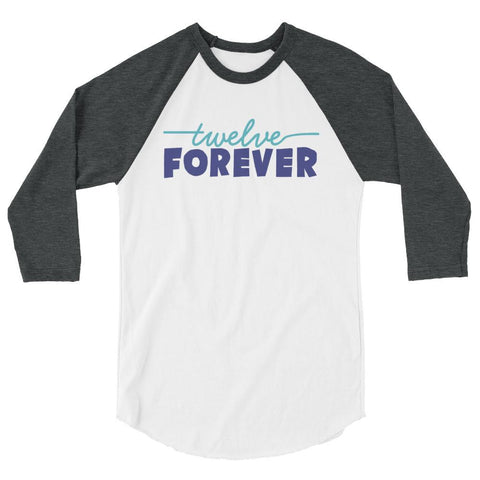 TF Logo 3/4 sleeve raglan shirt White/Heather Charcoal | Twelve Forever