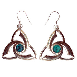 Triquetra Gemstone .925 Sterling Silver Earrings (2 Types)
