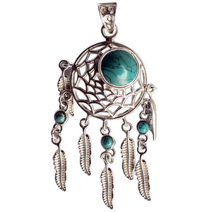 Dream Catcher Turquoise & Feather Gemstone .925 Sterling Silver Pendant