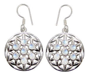 Flower of Life Gemstone .925 Sterling Silver Earrings (2 Types)