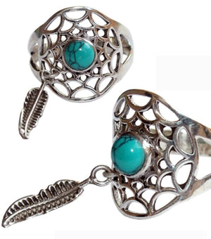 Dream Catcher Turquoise & Feather Gemstone .925 Sterling Silver Adjustable Ring