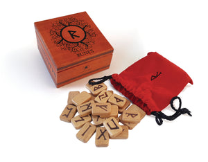 Wooden Runes Set with Wooden Box