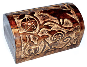 Raven Pentagram Chest Wooden Box