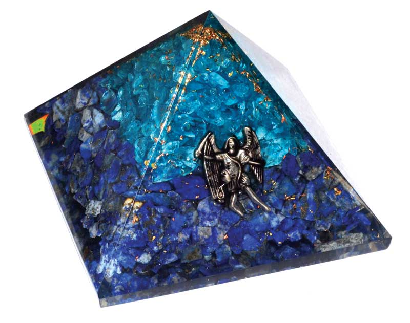 Aquamarine & Lapis Lazuli Orgone with Raphael Pyramid Crystal (75mm)