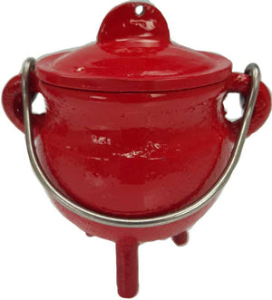 "3"" Colored Cast Iron Cauldrons w/ Lid & Handle (3 Types)"