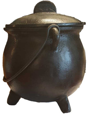 Large Cast Iron Cauldrons w/ Lid & Handle (2 Types)