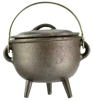 "4"" Medium Cast Iron Cauldrons w/ Lid & Handle (4 Types)"
