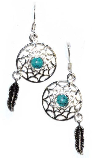Dream Catcher Turquoise & Feather Gemstone .925 Sterling Silver Earrings