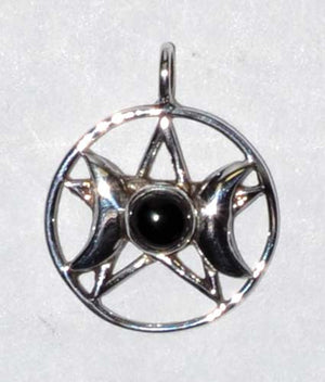 Triple Goddess Pentagram Gemstone Sterling Silver Pendants (3 Types)