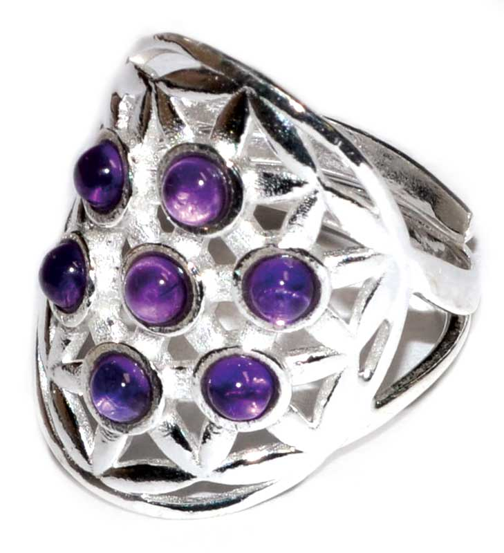 Flower of Life & Gemstone .925 Sterling Silver Adjustable Ring (2 Types)
