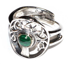 Load image into Gallery viewer, Tree of Life & Gemstone .925 Sterling Silver Adjustable Ring (2 Types)