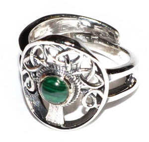 Tree of Life & Gemstone .925 Sterling Silver Adjustable Ring (2 Types)