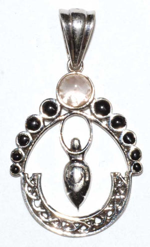 Moon Phases Goddess Gemstone .925 Sterling Silver Pendant