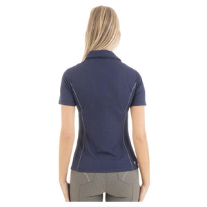Anky deep blue polo top in glittery fabric