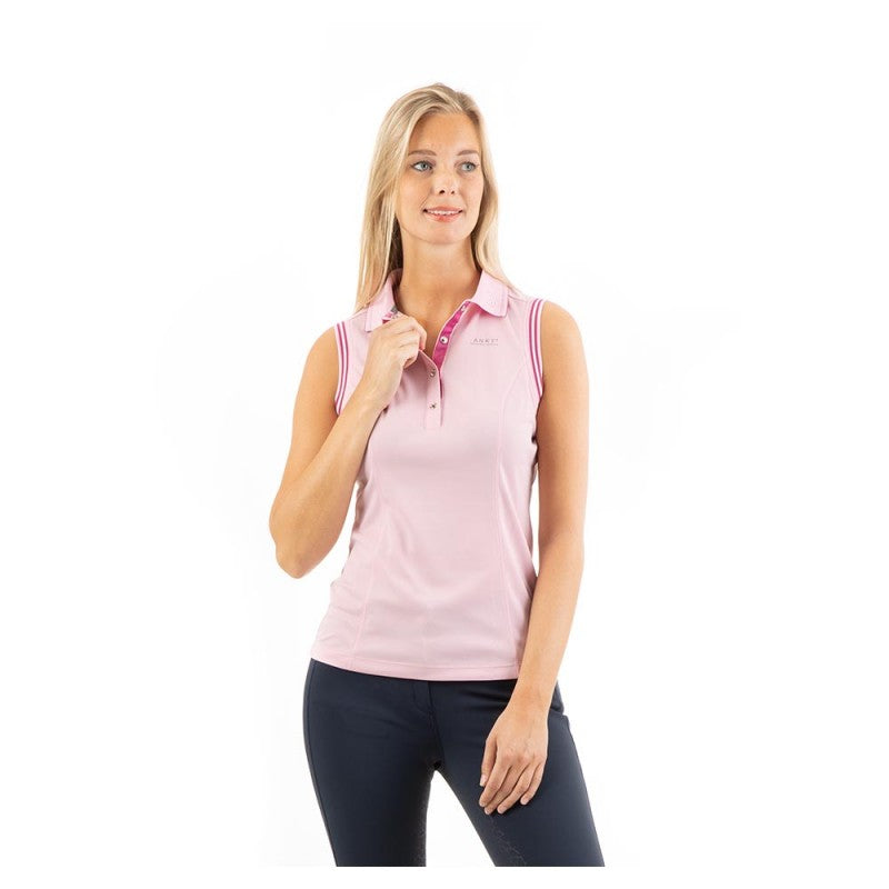 Anky candy pink sleeveless polo top in glittery fabric