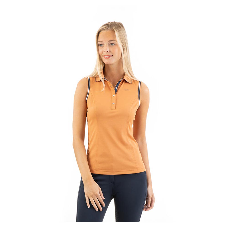 Anky copper sleeveless polo top in glittery fabric
