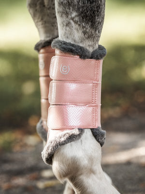 Equestrian Stockholm Pink faux fur brushing boots- Set of 4