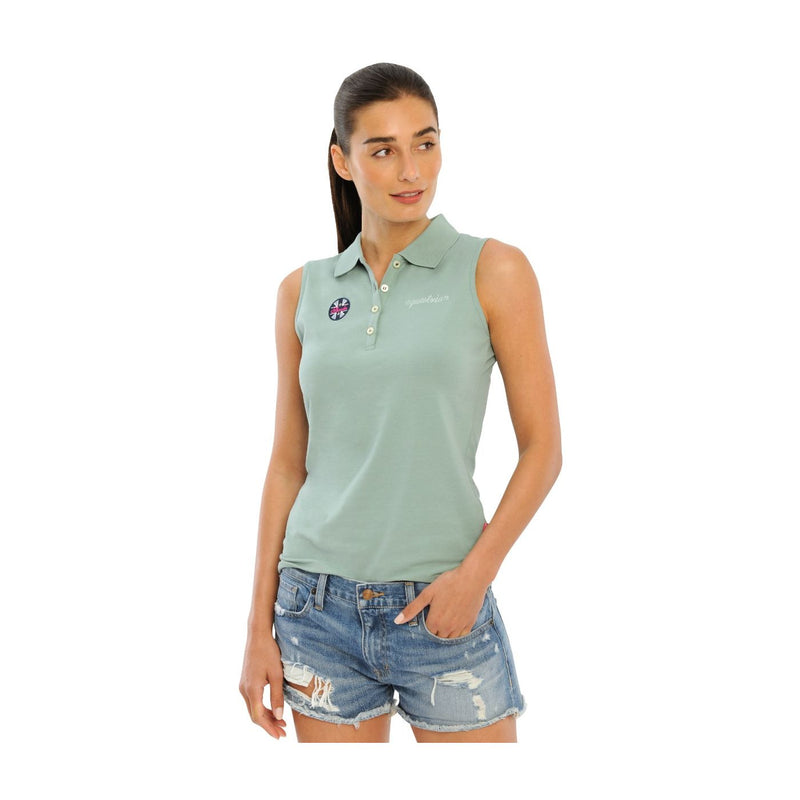 Spooks Dusty Green Leene sleeveless polo top