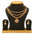 Sasitrends Antique Gold Plated AD Stone Studded 3-Layer Necklace with Earrings for Women and Girls