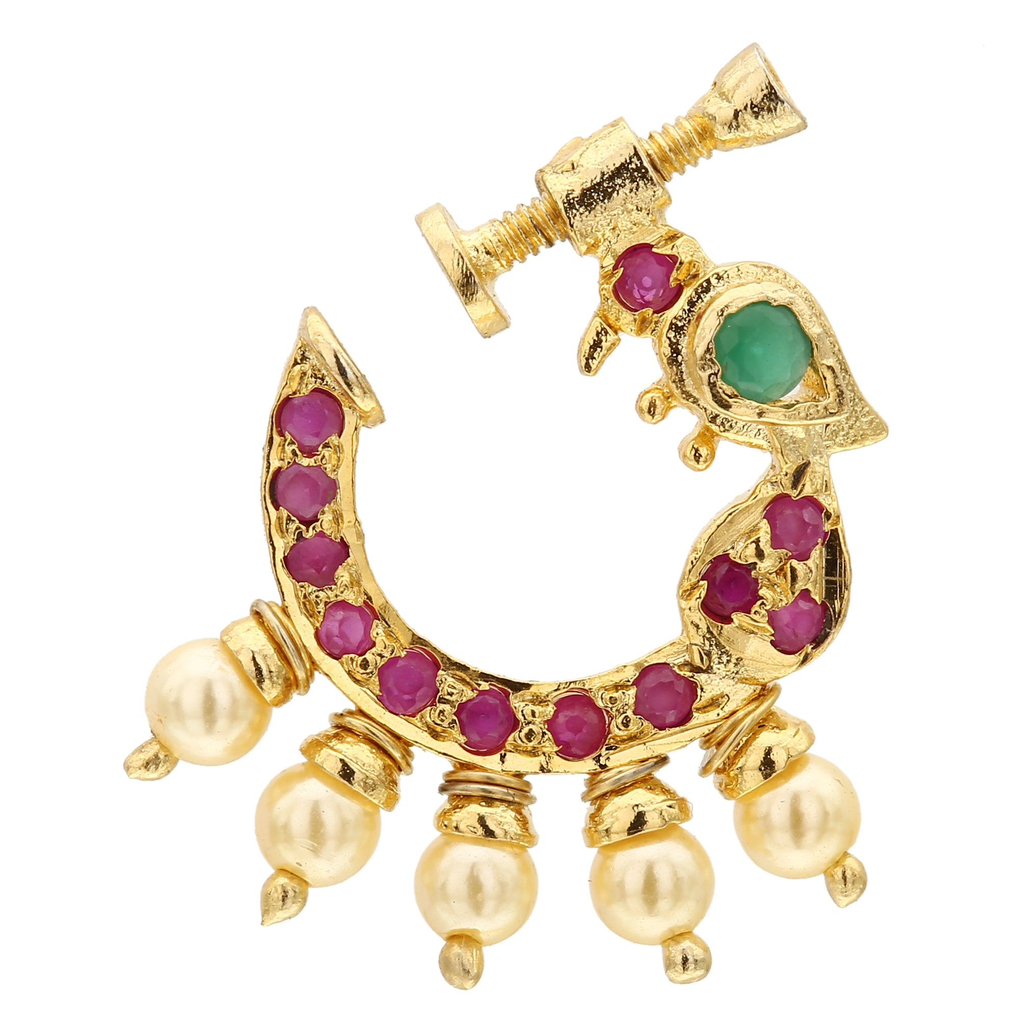 Latest Peacock Design Nose Pin Online Nose Rings Sasitrends