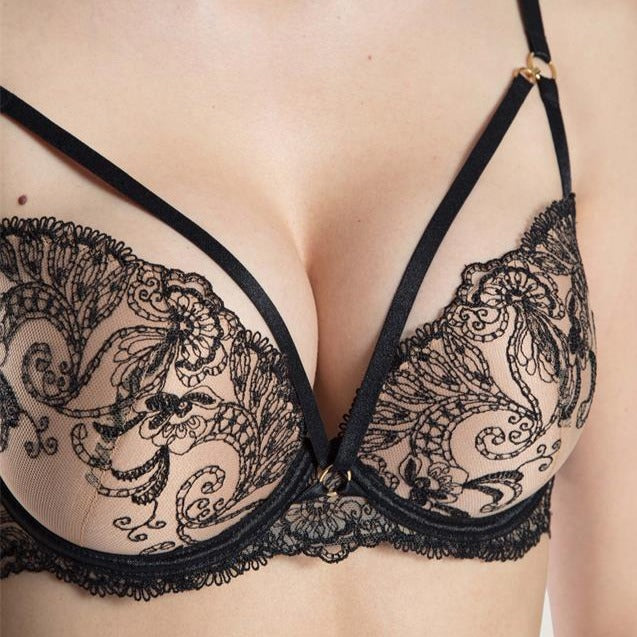 london-sexy-lingerie-notting-hill-The Aubade Charnels Push Up Bra  neckline is enhanced by two elasticated strips held in place by gold-coloured rings, lending a cheeky, graphic look to the design. The embroidered scrolls enhance the bust with their delicate swirls.