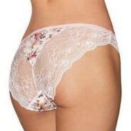 Aubade Fleur briefs with beautiful floral print on stretch satin to the front with pretty satin bow, and a sensual semi-sheer lace to the rear. These Italian style briefs are both stylish and comfortable. Pair with matching items to complete your look.