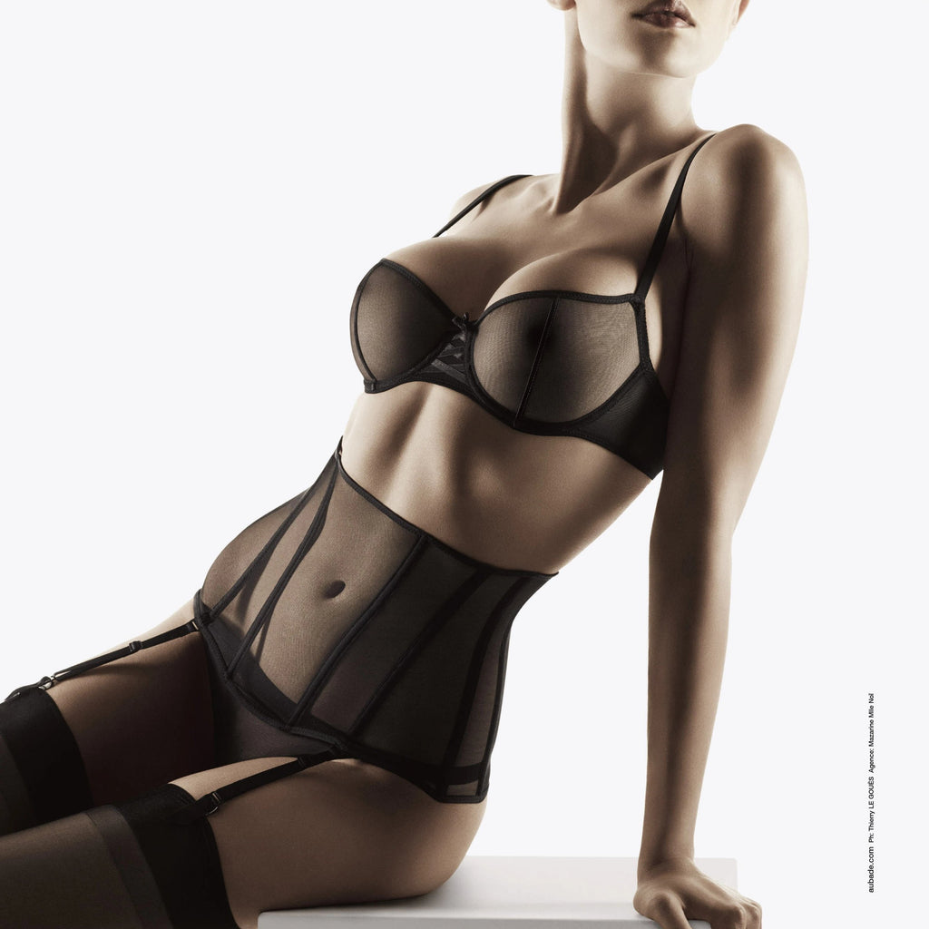 NOTTING-HILL-CURVY-LINGERIE-Aubade Nudessence Half Cup Bra Full has been crafted to offer maximum comfort, wider straps and perfect support. sheer tulle and graphic satin seams. Generous busts,  sizes D to G