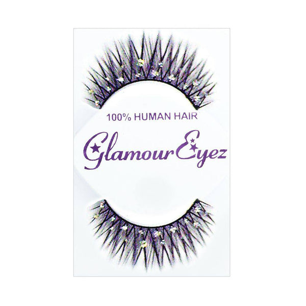 Glamour Eyez Eyelashes - Long Crossed with Crystals