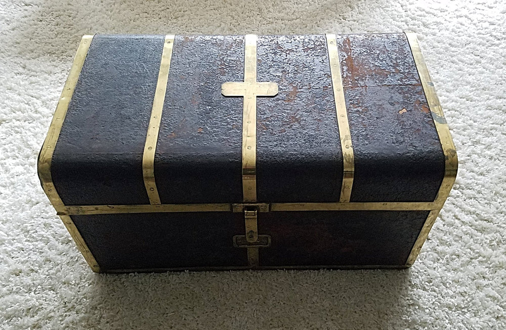Leather and Brass Bound Travelling Light Patent Trunk by T. HANDFORD