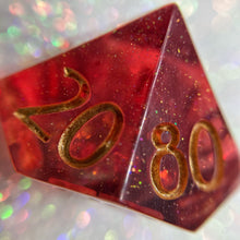 Load image into Gallery viewer, Translucent Red Handmade Precision Gaming D% Dice