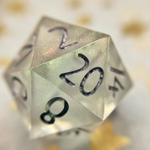 'Prismatic Spray' Sharp Edge Handmade Gaming Dice