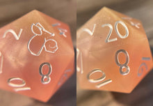 Load image into Gallery viewer, 'Gnomish Sweets' Custom Ink Sharp Edge Gaming D20