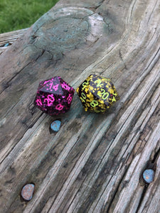 'Sunglasses at Night 80's Music Inspired Handmade Precision D20 Dice