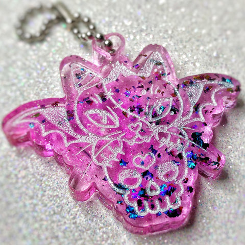 """Don't Call Me Cute"" Colorshifting Kitty & Skull Keychain"