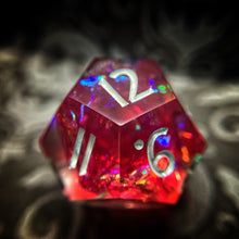 Load image into Gallery viewer, Raspberry Rainbows Handmade Sharp Edged Gaming Dice Set