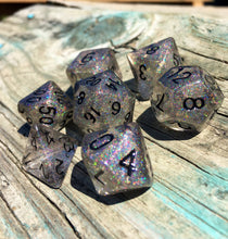 Load image into Gallery viewer, 'Titania's Armor' Handmade Semi-Translucent Holographic Gaming Dice Set